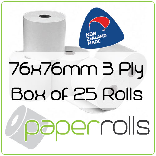 76 x 76MM 3 Ply Bond Rolls. Perfect for Kitchen Printers. Carton of 25