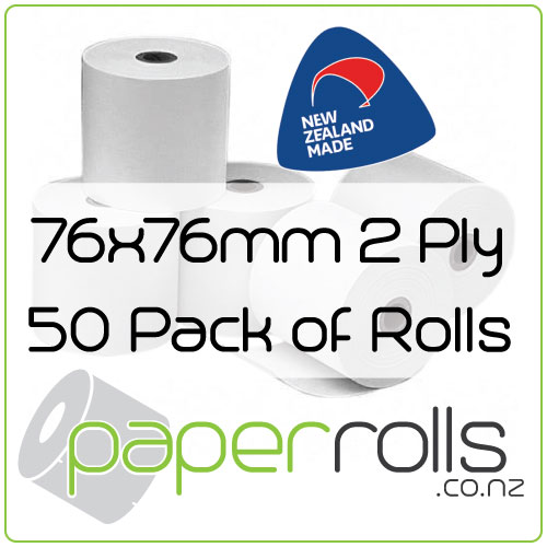 76 x 76mm 2 Ply Bond Paper Rolls Carton of 50